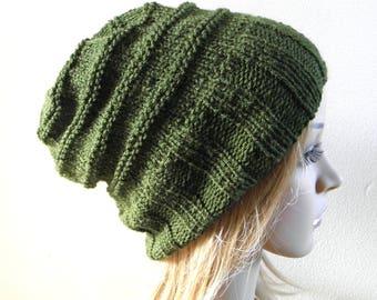 Hand knit slouchy hat wide band in dark green olive forest fern moss beanie men women teen unisex winter autumn slouch wool blend READY MADE