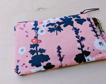 Pink Floral Wristlet