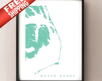 Outer Banks map art print - North Carolina Poster