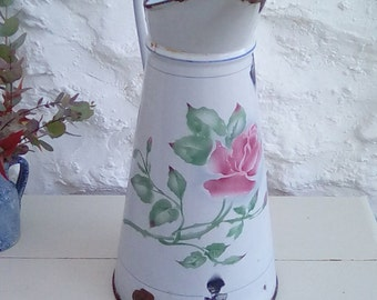 Vintage French enamel jug or pitcher. A lovely stencilled rose design.