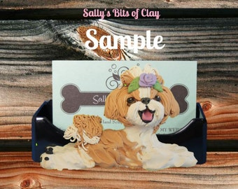 Tan / gold and White Shih Tzu dog Business Card Holder / Iphone / Cell phone / Post it Notes OOAK sculpture by Sally's Bits of Clay