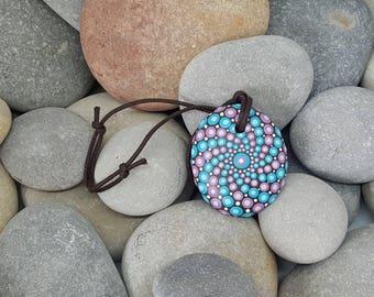 Unique Necklace Mandala Stone  - Painted Rock - Hand-Painted Mandala Rock - Paint Rock - Mandala Pendant - Chakra - Meditation