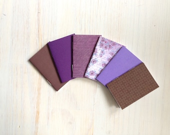 Notebooks: 6 Tiny Journal Set, Brown, Purple, Favors, Small Notebooks, For Her, For Him, Gift, Unique, Mini Journals, Favors, Wedding, T088