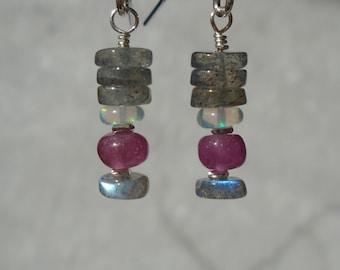Labradorite Earrings with Ethiopian Opal and Pink Sapphire, Opal Earrings, Pink Sapphire Earrings, Gemstone Short Earrings, Dainty Earrings