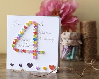 4th Wedding Anniversary Card - Handmade - Personalised - 4th Anniversary Card - Personalized - Husband - Wife - Our  Anniversary 3D BHAN04