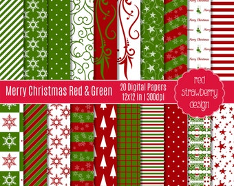 75% OFF Sale - Merry Christmas Red & Green - 20 Digital Papers - Instant Download - JPG 12x12 (DP232)