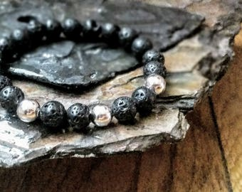 Shiny Smooth Silver 8mm Diffuser Bracelet with Lava Beads