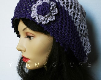 Purple Two-Tone Tam With Flower / Satin Lined / All Weather Hat