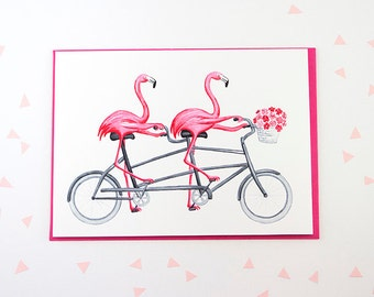 Pink flamingo card in tandem bicycle, cycling flamingos card