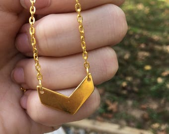 "Gold Chevron Connector Necklace 20"" chain"