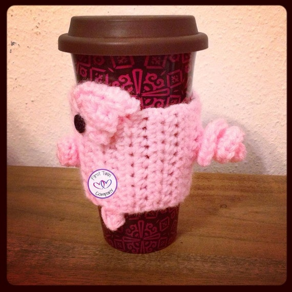 Piggy Coffee Collar/Cozy Crochet Pattern, pig collar, pig cozy ...