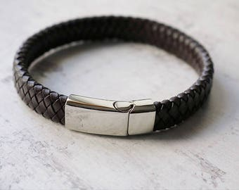 Men's Bracelet - Personalised Mens Leather Bracelet - Men's Leather Bracelet