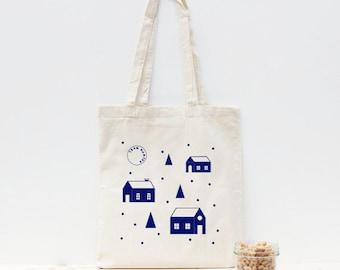 Night Blue hand screen printed tote bag - Illustration Graphic Design House - Antonin+Margaux