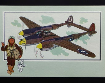 "Tintin. Chromo Tintin. See and know. Aviation. War 1939-1945. Series 1. 24. Lockheed P-38 ""Lightning"". 1939 U.S.A."