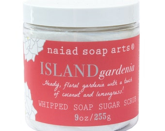 Island Gardenia Whipped Soap Sugar Scrub - vegan and cruelty free