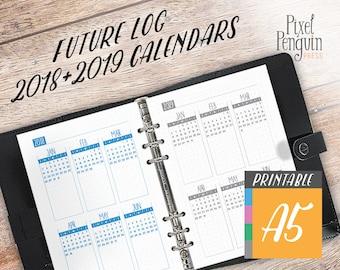 Dot Grid Planner Inserts A5, Calendar Insert, Printable Future Log, Bullet Journal Calendar, Bujo Year At a Glance 2 Page 2018 2019 Calendar