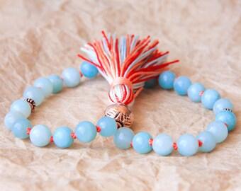 Mini Mala Beads, Buddhist Prayer Bead, Hand Mala, Amazonite For Healing Energy, Tibetan Beads