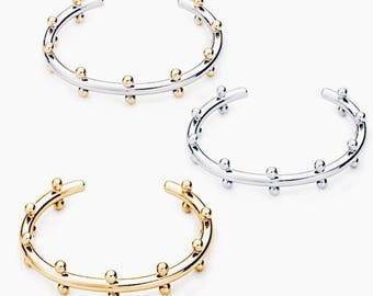 Statement Metal Beads Cuff_Gold/Silver/Gold Silver Mix