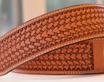 Leather Guitar Strap with basketweave pattern