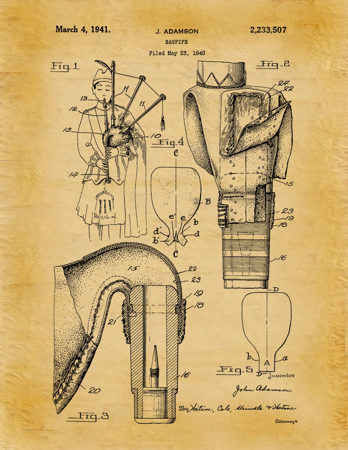 Patent 1941 Bagpipes - Art Print - Poster - Musical Instrument ...