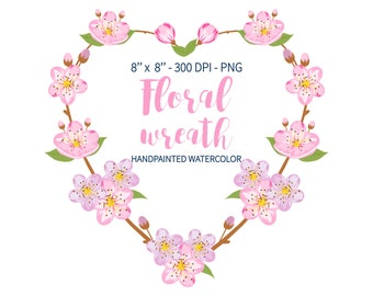 Spring Clipart, Sakura Clipart, Spring Wreath, Heart Wreath, Floral Clipart, Cherry Blossom, Floral Clip Art, Pink Wreath, Cherry Bloom Png