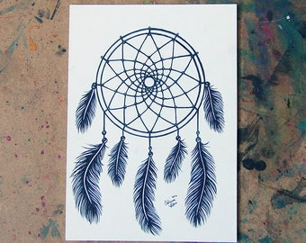 ORIGINAL Drawing Inktober - Dreamcatcher Black and White Tattoo Style Illustration