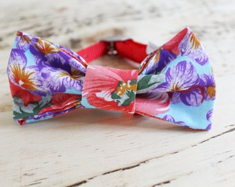 Bright Floral handmade slip on dog bow tie