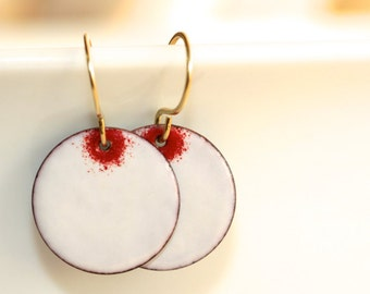 Enamel Earrings * Red and White * Saint Valentine * Romantic Gifts * Gift for Her * Wife Gift * St Valentine * Gift for Wife.*Unborn Dreams*