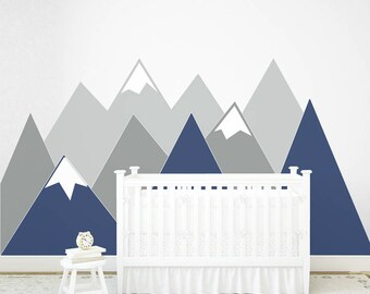 Mountains Wall Decal NURSERY Crib Headboard Art Wall Protection Navy Woodland Kids Wall Sticker Washable Self adhesive scandinavian Decor
