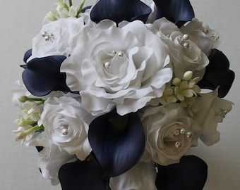 Navy Blue Wedding Bouquet Navy Blue Calla Lily Bouquet Navy Blue Bouquet  Real Touch Calla Calla Lily Bridal Bouquet Wedding Bouquets
