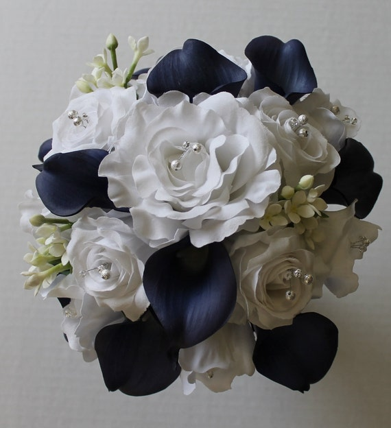 Navy Blue Wedding Bouquet Navy Blue Calla Lily Bouquet Navy