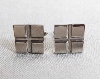 Vintage Men's Square Cuff Links, Silver tone Metal Quadrant Design, 1960s Simple Geometric Square Cuff Links, Father's Day Gift