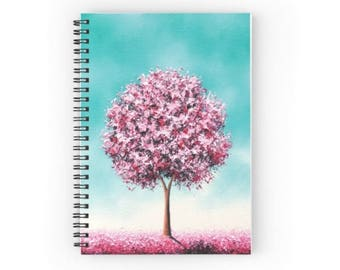 Cherry Blossom Tree Notebook, Pink Tree Spiral Notebook, Office Supplies, Cute Journal, Whimsical Art Notebook, Lined Paper Writing Journal