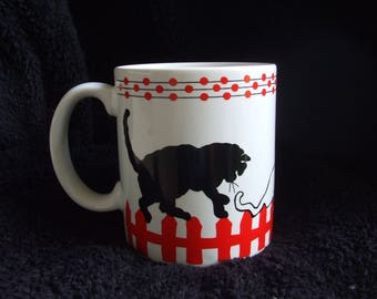 Cats Walking on Fence Mug By Lord And Taylor, White and Red Mug with Black and White Cats