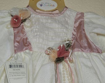 My way Babies Dress, Slippers, Bloomers and hanger with Store Tags