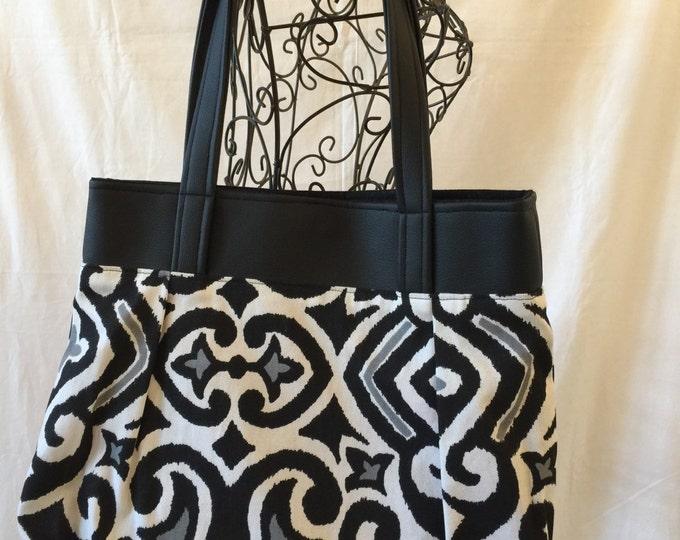 Sweet Pea Purse with Leather, Shoulder Bag, Purse, Fabric and Leather Purse, Medium Handbag, #4014