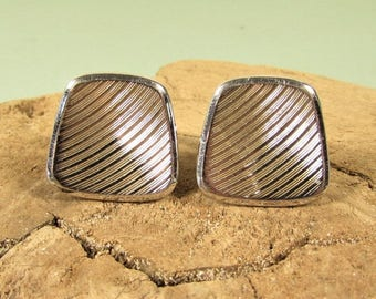 Speidel Silver Tone Cuff Links - Vintage Textured Square