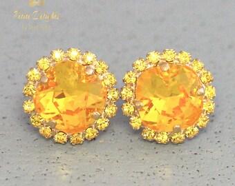 Yellow Earrings, Canary Yellow Earrings Swarovski Stud Earrings Yellow Sunshine Stud Earrings Bridal Earrings Bridesmaids Yellow Jewelry