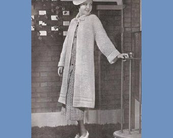 1930's Knitted Coat and Crocheted Hat Pattern - Women's Fashion Knitting - Reproduction .pdf - Instant Download -- Size 16-18