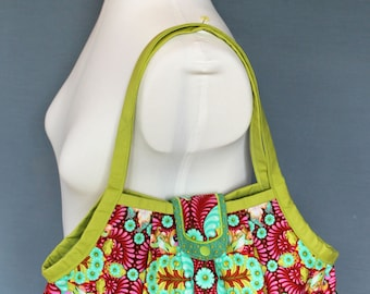 Fabric granny bag - Pink turquoise green - turtles