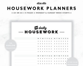 HOUSEWORK PLANNERS / Home Organizer / 2018 Planner / Home Planner / Home Organization / Organizer / The Harlow Planners in Moonshine / 422