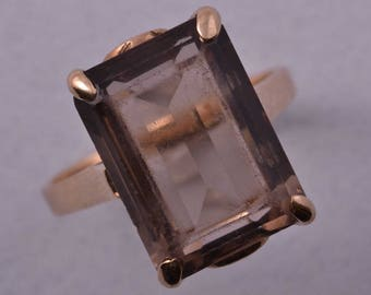 9ct Gold 1950's Retro Ring With Smoky Quartz (932r3)