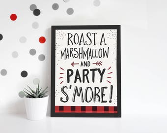 S'mores Bar Sign, Lumberjack First Birthday Party, lumberjack party decorations