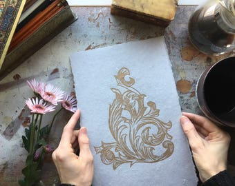 Acanthus No.1- Original Hand Carved and Hand Pulled Linocut Print - Block Printed Art - Classic Scroll Work - Gold Print