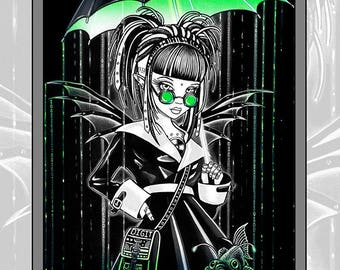 Set 5 -10 Pages -Free US SHIPPING - Scifi Cybergoth Beauties - Myka Jelina - Fantasy Art - Grayscale - Adult Coloring- Android - Robots