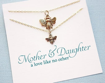 Bee Necklace Gift Set | Mother Daughter Jewelry Set, Mother Daughter Gift for Mom, Gift for Daughter, Mommy and Me, Mom Gift | MD04