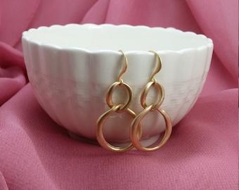Gold Infinity Earrings - Long Dangle Earrings Gold - Geometric Circle Earrings - Figure 8 Earrings - Matte Gold Jewelry - Double Loop E5501