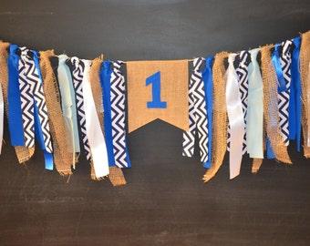Navy Blue Banner, First Birthday Boy, High Chair Banner Boy, First Birthday Banner