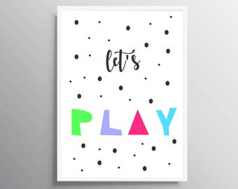 nursery wall art, Nursery prints, Play Instant Download, Lets Play, Kids Print, Printable wall art, Nursery decor, baby nursery art