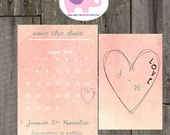 watercolour save the date, double sided watercolour save the date, calender save the date